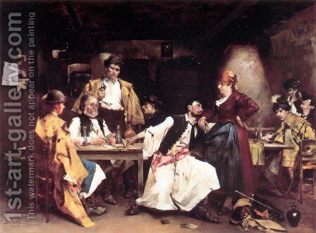 In the tavern by Bertalan de Karlovsky - Reproduction Oil Painting