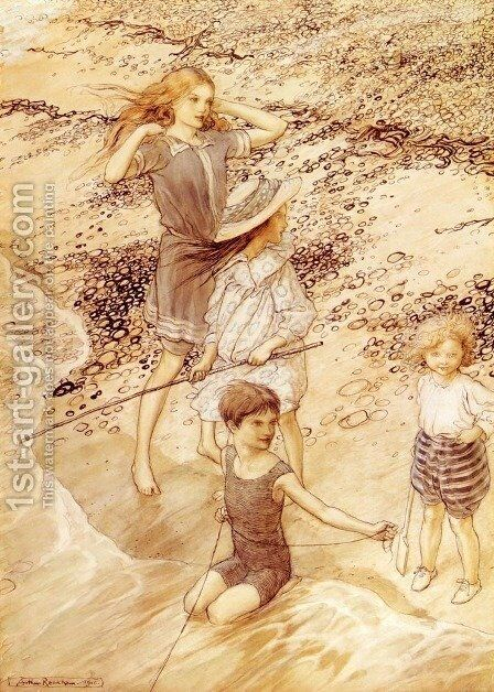 Children By The Sea by Arthur Rackham - Reproduction Oil Painting