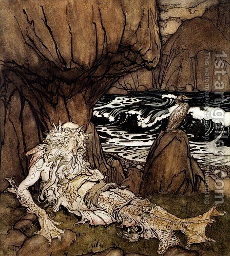 A Crowned Merman by Arthur Rackham - Reproduction Oil Painting