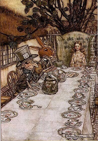 Alice in Wonderland: A Mad Tea Party by Arthur Rackham - Reproduction Oil Painting