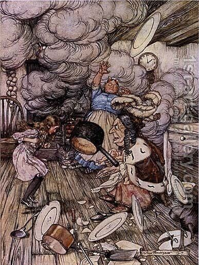 Alice in Wonderland: Pig and Pepper by Arthur Rackham - Reproduction Oil Painting