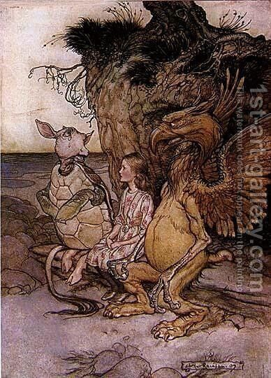 Alice in Wonderland: The Mock Turtle's Story by Arthur Rackham - Reproduction Oil Painting