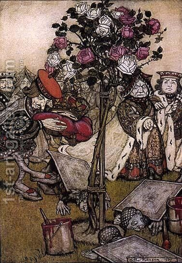 Alice in Wonderland: The Queen's Croquet Ground by Arthur Rackham - Reproduction Oil Painting
