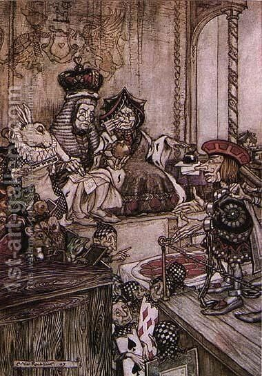 Alice in Wonderland: Who Stole the Tarts? by Arthur Rackham - Reproduction Oil Painting