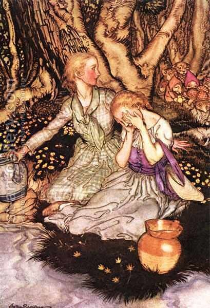 Goblin Market: Down the glen tramp the little men by Arthur Rackham - Reproduction Oil Painting