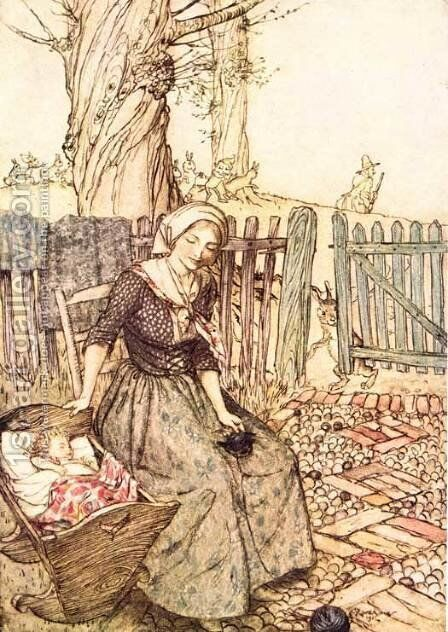 Mother Goose: Bye Baby Bunting by Arthur Rackham - Reproduction Oil Painting
