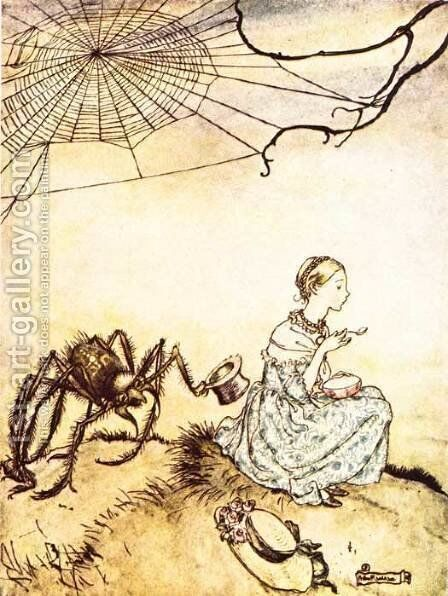 Mother Goose: Little Miss Muffet by Arthur Rackham - Reproduction Oil Painting