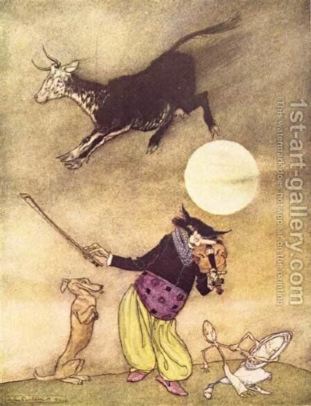 Mother Goose: The Cow Jumped Over the Moon by Arthur Rackham - Reproduction Oil Painting