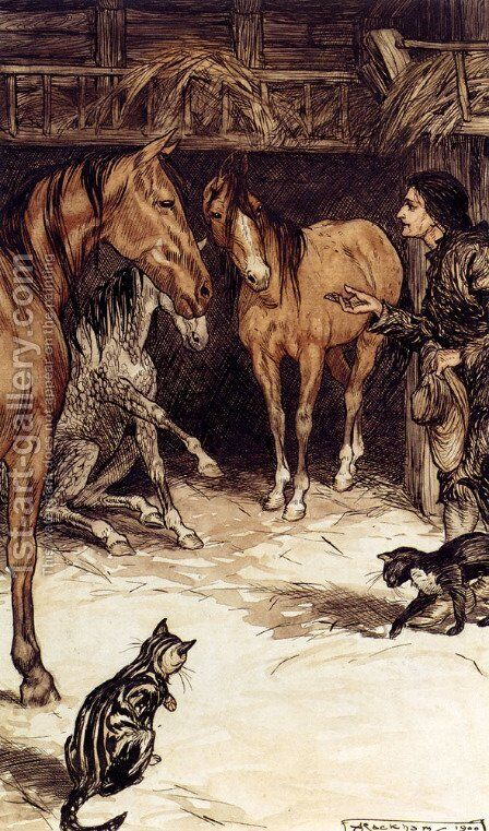 Gulliver Visiting With The Houyhnhnms by Arthur Rackham - Reproduction Oil Painting