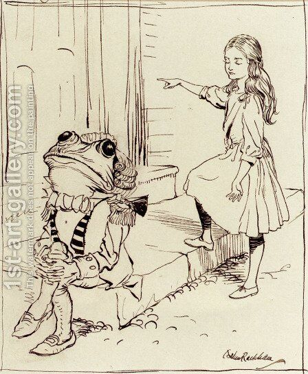 Alice And The Frog Footman by Arthur Rackham - Reproduction Oil Painting