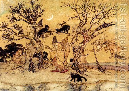 The Witches' Sabbath by Arthur Rackham - Reproduction Oil Painting