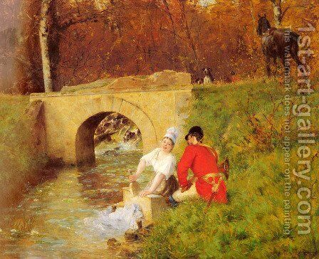 A Moment Aside by Alphonse Gaudefroy - Reproduction Oil Painting