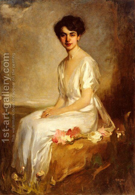 Portrait of an Elegant Young Woman in a White Dress by Artur Lajos Halmi - Reproduction Oil Painting