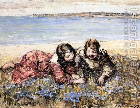 Gathering Flowers by the Seashore by Edward Atkinson Hornel - Reproduction Oil Painting