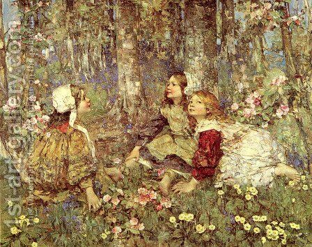 Music of the Woods by Edward Atkinson Hornel - Reproduction Oil Painting