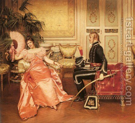 Flirtation by Charles Joseph Frederick Soulacroix - Reproduction Oil Painting