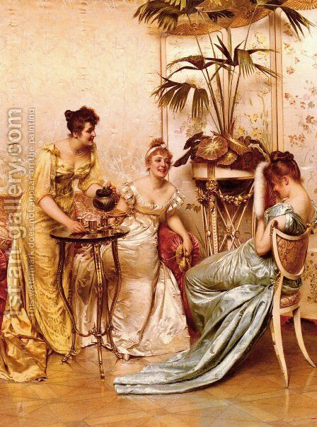 The Tea Party by Charles Joseph Frederick Soulacroix - Reproduction Oil Painting