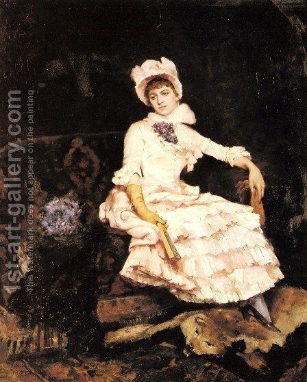 An Elegant Lady in Pink by Guillaume Van Strydonck - Reproduction Oil Painting