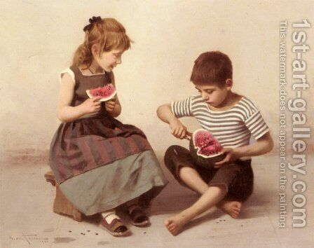 Merenda In Estate ('Such A Nice Watermelon!') by Giulio Del Torre - Reproduction Oil Painting