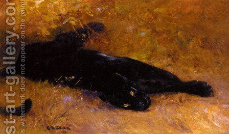 The Black Panther by Cuthbert Edmund Swan - Reproduction Oil Painting