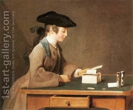 The House of Cards III by Jean-Baptiste-Simeon Chardin - Reproduction Oil Painting