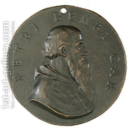 Portrait of Cardinal Pietro Bembo (obverse of a coin) by Benvenuto Cellini - Reproduction Oil Painting