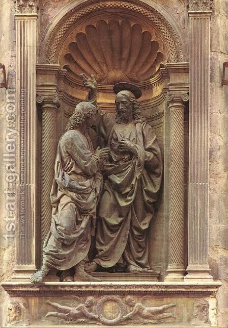 Christ and Doubting Thomas by Andrea Del Verrocchio - Reproduction Oil Painting