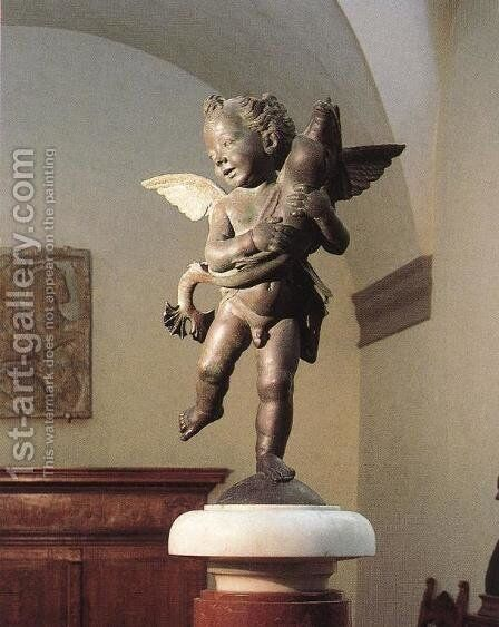 Putto with Dolphin by Andrea Del Verrocchio - Reproduction Oil Painting