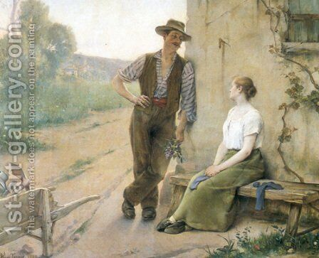 Peasant Couple in Farmyard by Henri Adriene Tanoux - Reproduction Oil Painting