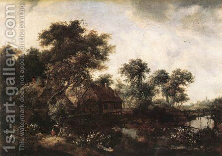 The Water Mill I by Meindert Hobbema - Reproduction Oil Painting