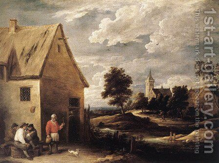 Village Scene by David The Younger Teniers - Reproduction Oil Painting