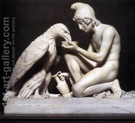 Ganymede Waters Zeus as an Eagle by Bertel Thorvaldsen - Reproduction Oil Painting