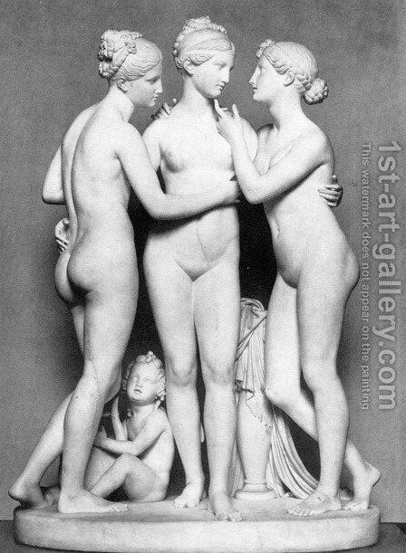 The Three Graces with Cupid by Bertel Thorvaldsen - Reproduction Oil Painting