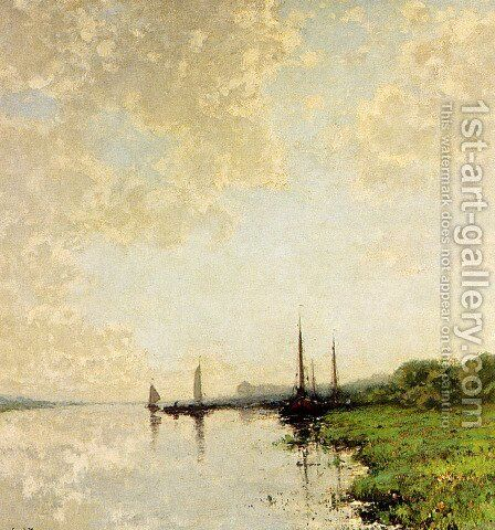A Summer Landscape With Boats On A Waterway by Cornelis Kuypers - Reproduction Oil Painting