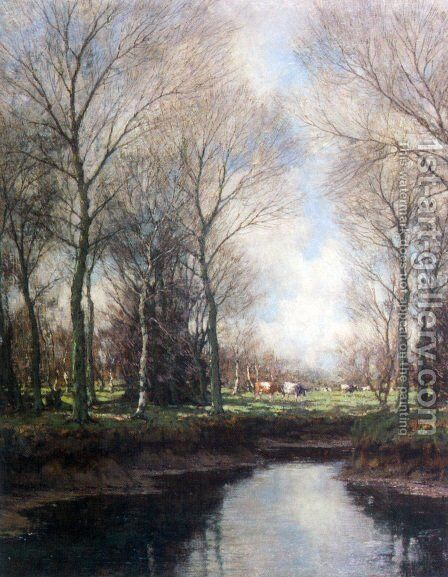 Cows Grazing Along a Stream by Arnold Marc Gorter - Reproduction Oil Painting