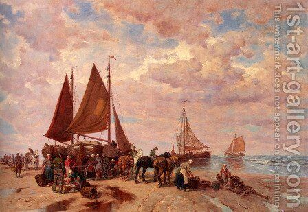 A Coastal Scene Wih Fisherfolk Sorting The Day's Catch, Beached by Desire Thomassin - Reproduction Oil Painting