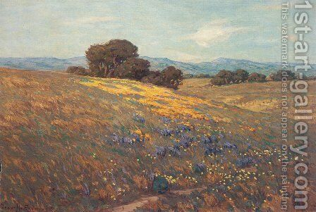 Poppies and Lupines by Granville Redmond - Reproduction Oil Painting