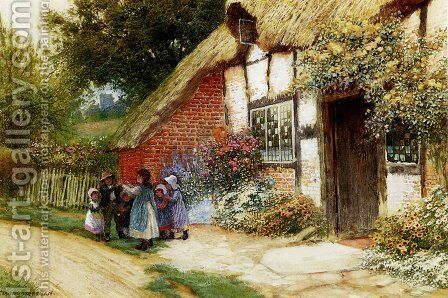 Children Playing Outside A Cottage by Arthur Claude Strachan - Reproduction Oil Painting