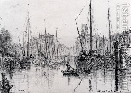 Moored Boats In Rotterdam by Albert Goodwin - Reproduction Oil Painting
