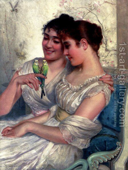 The Lovebirds by Adolfo Belimbau - Reproduction Oil Painting