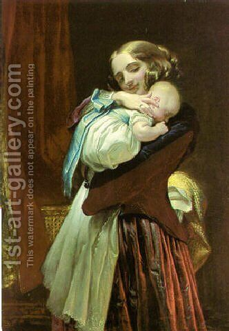 Maternal affection by Charles West Cope - Reproduction Oil Painting