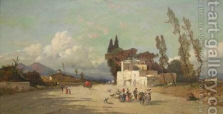A View of the Bay of Naples with Vesuvius in the Distance by Hermann David Salomon Corrodi - Reproduction Oil Painting