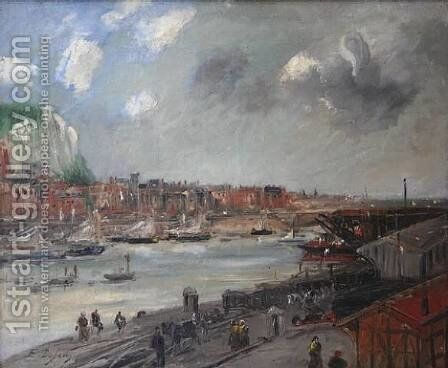 View of Port by Jacques-Edouard Dufeu - Reproduction Oil Painting