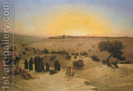 Pilgrims Worshipping outside Jerusalem by Charles Théodore Frère - Reproduction Oil Painting