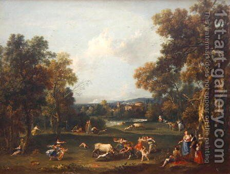 Hunt for the Bull, c.1732 by Giuseppe Zais - Reproduction Oil Painting