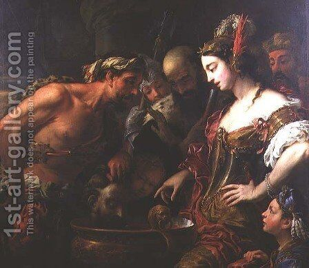 Queen Tomyris with the Head of Cyrus the Great by Antonio Zanchi - Reproduction Oil Painting