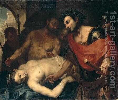 Nero (37-68 AD) with the Corpse of his Mother Agrippina (15-59 AD) by Antonio Zanchi - Reproduction Oil Painting