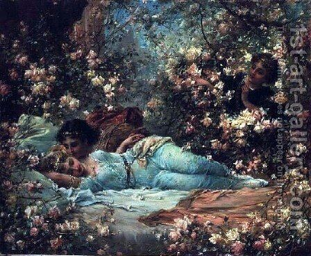 The Rose Bower by Hans Zatzka - Reproduction Oil Painting
