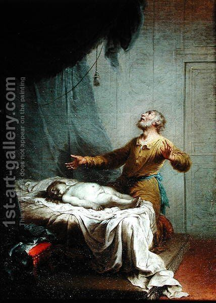 Elijah, on his Knees, Invoking the Lord to Resurrect the Son of the Shunamite Widow by Januarius Zick - Reproduction Oil Painting