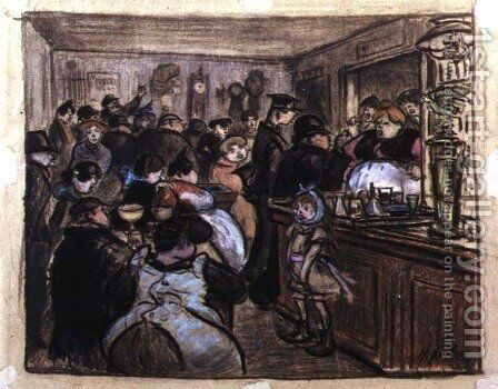 Quarrel at the Distillers by Heinrich Zille - Reproduction Oil Painting